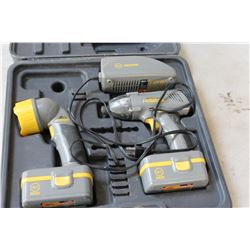 GERA PRO 18VOLT CORDLESS IMPACT DRILL AND FLASHLIGHT WITH BATTERIES