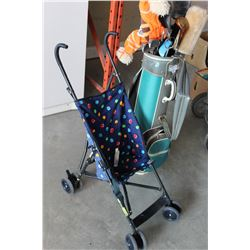 SET OF GOLF CLUBS AND BAG AND STROLLER