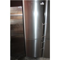 AS NEW LIEBHERR STAINLESS FRIDGE WITH BOTTOM FREEZER TESTED AN WORKING, 24 INCH WIDE, 80 INCH TALL