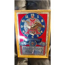 BUDWEISER MIRRORED ADVERT CLOCK