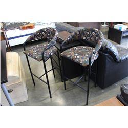 TWO BAR STOOLS POOL TABLE MOTIF