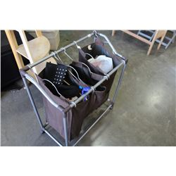 ROLLING LAUNDRY HAMPER WITH CONTENTS