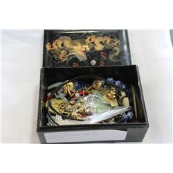 EASTERN LACQUER BOX AND JEWELLRY