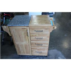 ROLLING MAPLE KITCHEN CART WITH GRANITE TOP