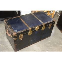 BLUE AND BLACK METAL BOUND TRUNK