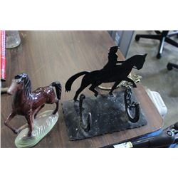 METAL HORSE WINE BOTTLE HOLDER AND HORSE FIGURE ETC