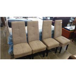 FOUR TALL BACK FABRIC DINING CHAIRS