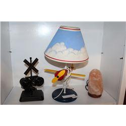 SALT LAMP AIRPLANE LAMP AND RAILROAD CROSSING LAMP