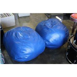 TWO BLUE BEAN BAG CHAIRS