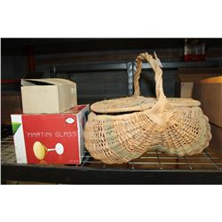 WICKER BASKET AND GLASSES