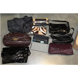 BOX OF LADIES DESIGNER CLUTCH PURSES AND WALLETS