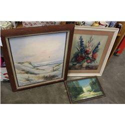 OIL PAINTING ON CANVAS AND TWO FRAMED PAINTINGS