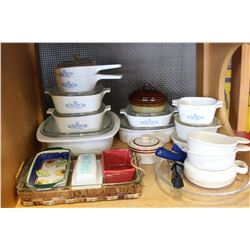SHELF LOT OF CORNING WARE AND BAKEWARE