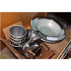 TWO CENTER BOWLS AND KING KUTTER MEAT GRINDER