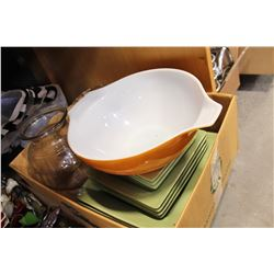 PYREX BOWL PIER ONE IMPORTS DISHES AND VASES