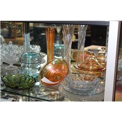 SHELF OF ANTIQUE AND DEPRESSION GLASSWARE