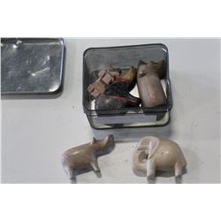 TIN OF STONE ANIMAL CARVINGS