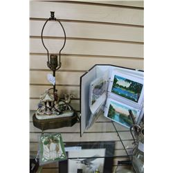 CASE OF VINTAGE POSTCARDS AND VINTAGE HAND PAINTED LAMP