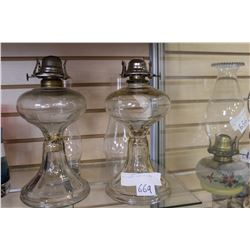 TWO VINTAGE GLASS OIL LAMPS