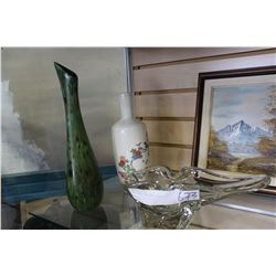 TWO VASES AND ART GLASS