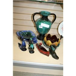 BLUE MOUNTAIN POTTERY VASE AND ORNAMENTS