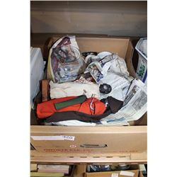 BOX OF ESTATE DECOR AND AFRICAN PAPER MACHE FIGURES ETC