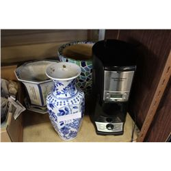 PLANTERS AND COFFEE MAKER