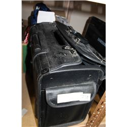 BOX OF AV CABLES AND LAPTOP BAGS