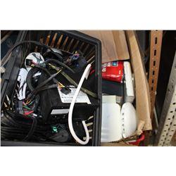 BOX AND BLACK BASKET OF ELECTRONICS