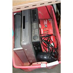 RED TOTE SECURITY RECEIVER DVD DISC CHANGER AND ELECTRONICS