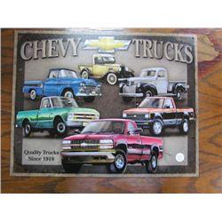Chev Trucks Tin Sign since 1918 repro