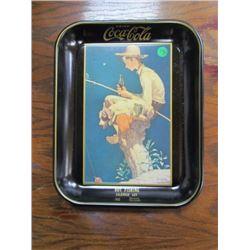 Coca Cola Boy Fishing -Norman Rockwell tray