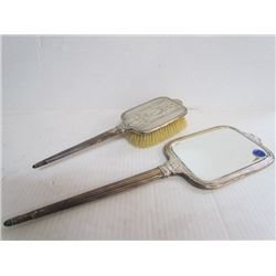 Vintage sterling silver hair brush and mirror