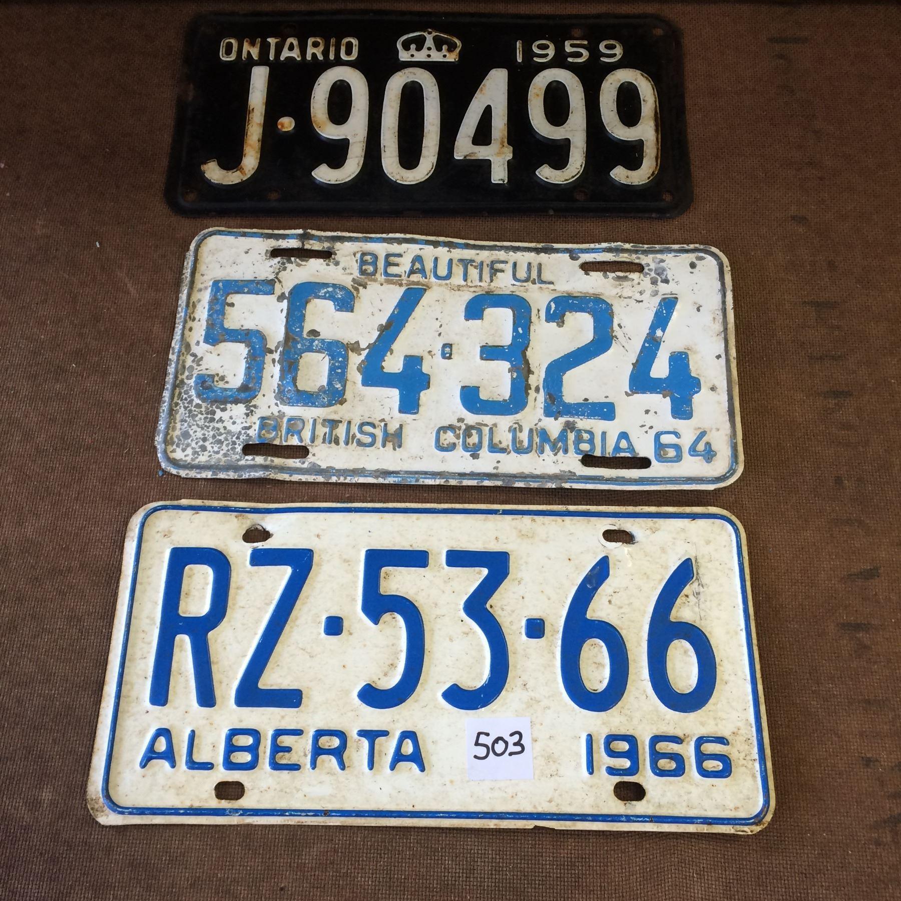 3 License Plates Albert B C Ontario