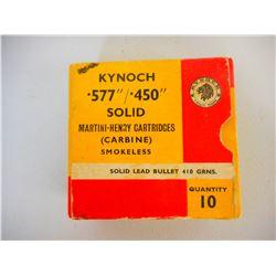 "KYNOCH .577/.450"" MARTINI-HENRY AMMO"