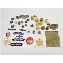 ASSORTED CANADIAN/BRITISH MILITARY BADGES & PIECES