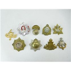 ASSORTED CANADIAN & BRITISH HAT BADGES