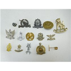 ASSORTED INDIAN, PAKISTAN 7 ISRAEL CAP/COLLAR BADGES