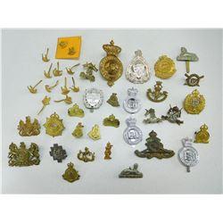 ASSORTED BRITISH & CANADIAN CAP/COLLAR BADGES & PINS