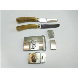 ASSORTED BELT BUCKLES & KNIVES