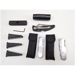 ASSORTED GUN PARTS & POCKET KNIVES