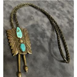 """Navajo bolo tie, turqouise & sterling silver, 2"""" x 2 1/2"""", old pawn"""