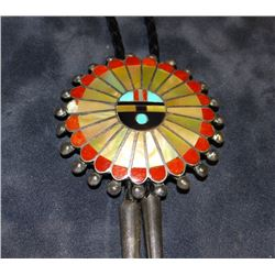 """Zuni bolo tie, turqouise, coral and mother of pearl, 2 1/2"""" diameter"""