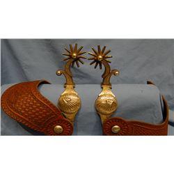 E. Garcia fancy silver mtd spurs, Indian Chief in War Bonnett, 12 pt rowels