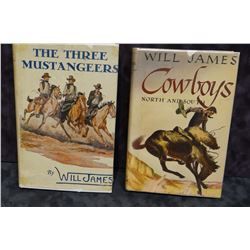 2 books: James, Will, THE THREE MUSTANGEERS, dj; COWBOYS NORTH AN SOUTH, dj, not 1st editions