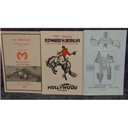 3 repro catalogs, M. Morales, Edward H. Bohlin and E. J. Owenhouse Saddlery, soft covers