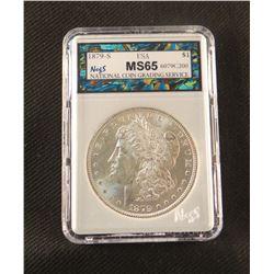 1879 S Morgan dollar, MS 65, NCGS