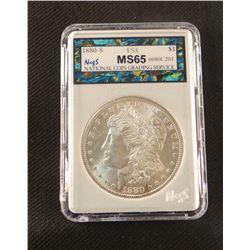 1880 S Morgan dollar, MS 65, NCGS