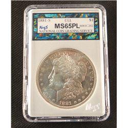 1881 S Morgan dollar, MS 65 PL, NCGS