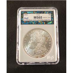 1882 P Morgan dollar, MS 65, NCGS